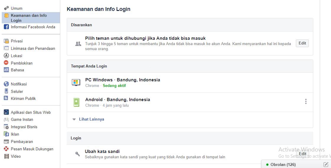 ganti kata sandi facebook