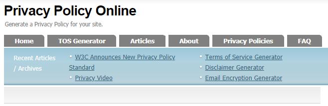 cara membuat privacy policy dan disclaimer