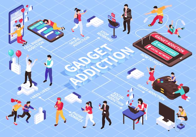 gadget online games addiction isometric flowchart with social media symbols illustration 1284 53884