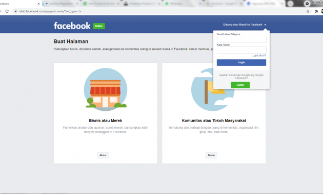 membuat facebook pages